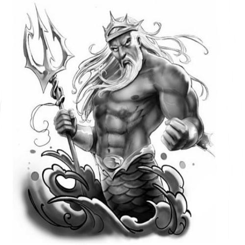 Poseidon Staff Tattoo: Wzór Tatuażu Neptun